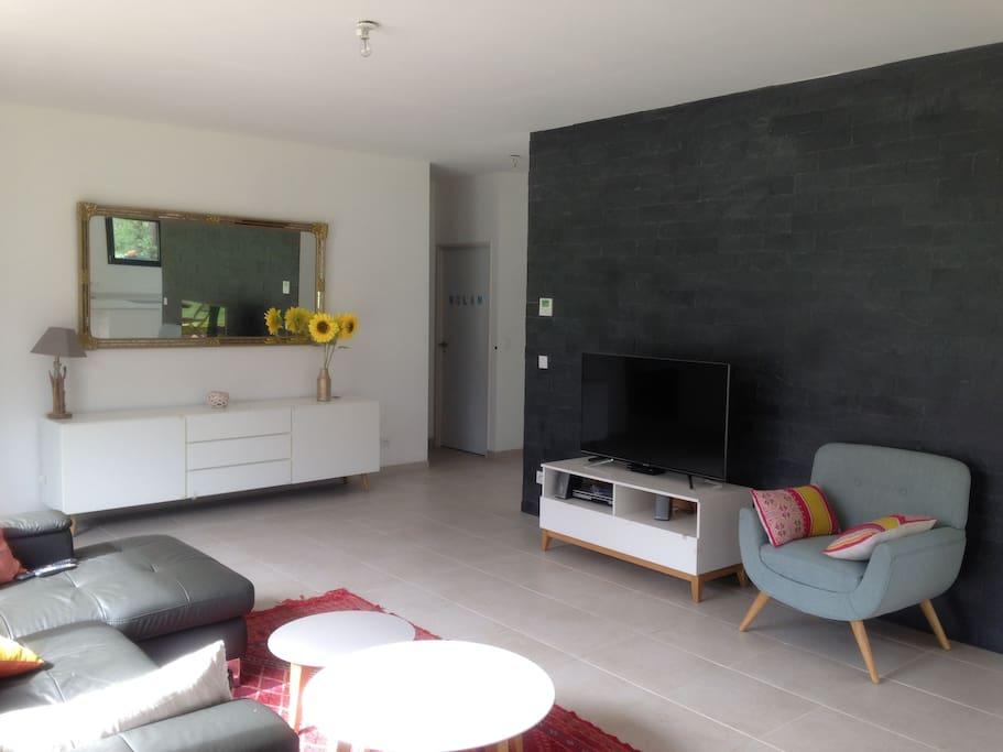 la pièce de vie 50 m² avec vue sur la foret et cuisine ouverte
