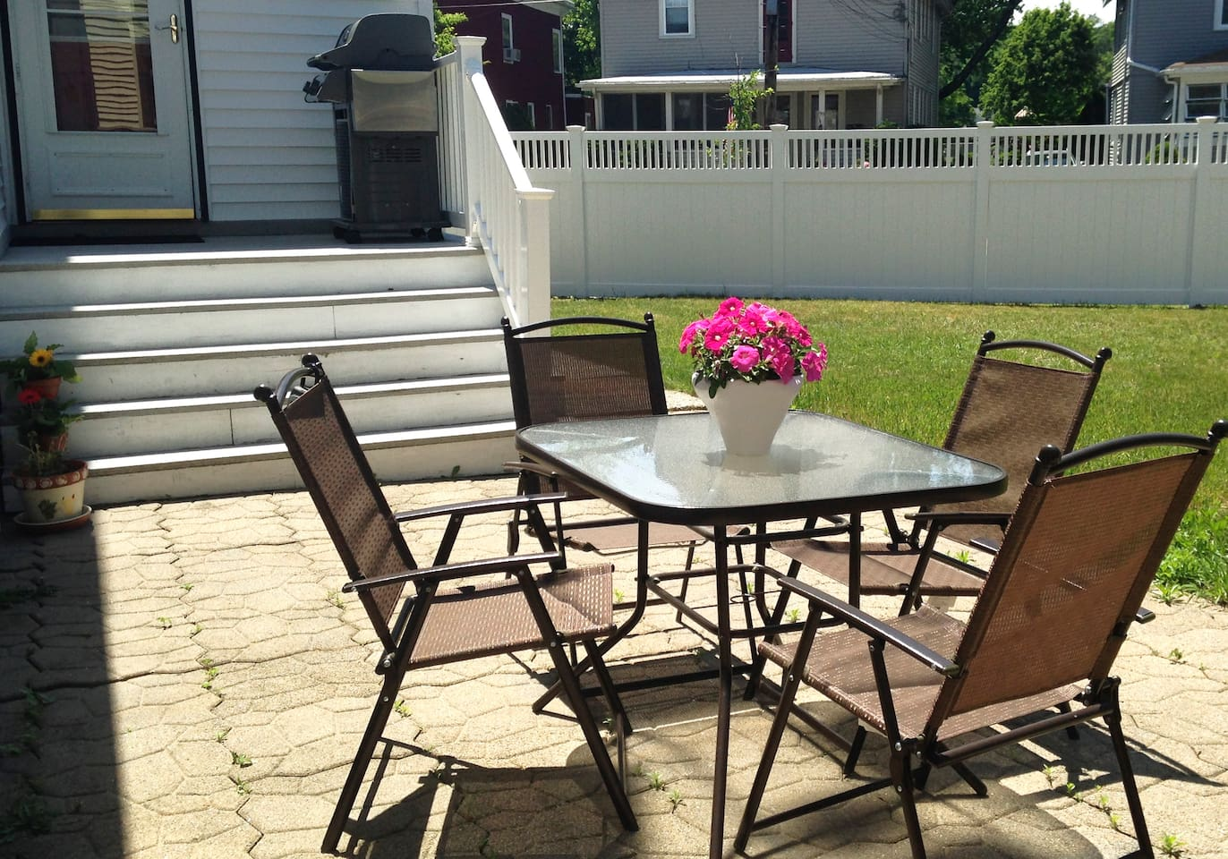 Private fenced-in patio for your enjoyment