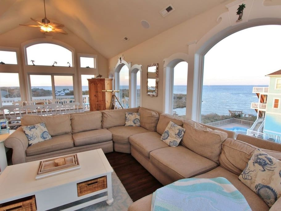 Family Room with views of ocean and sound