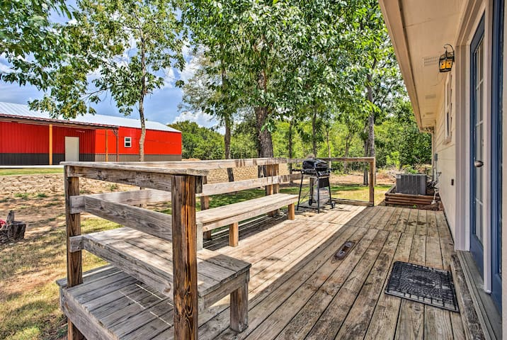 Enjoy the perks of a private back porch, perfect for cookouts with friends.
