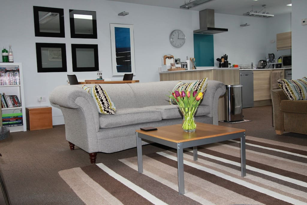 Contemporary open plan living space property is on one level, no steps throughout