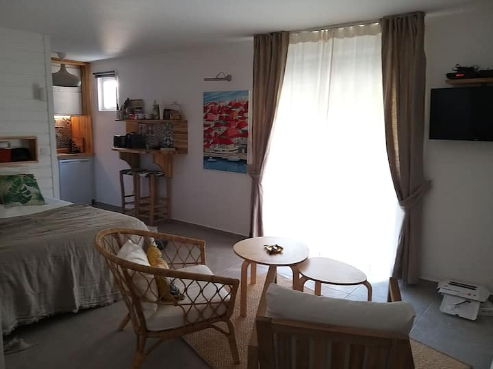 Grand studio neuf jardin au calme - Anses d'Arlet