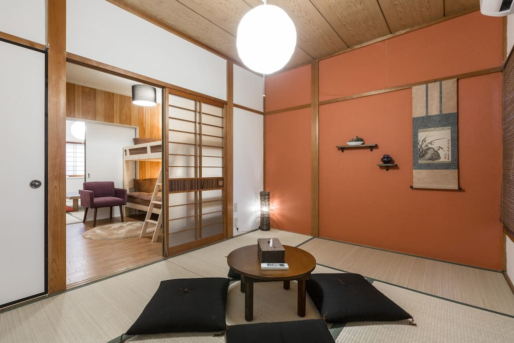 Bedroom with bunk bed is in between two tatami rooms which can be used for futons if needed