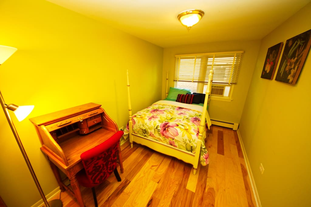 Fish-eye view of bedroom
