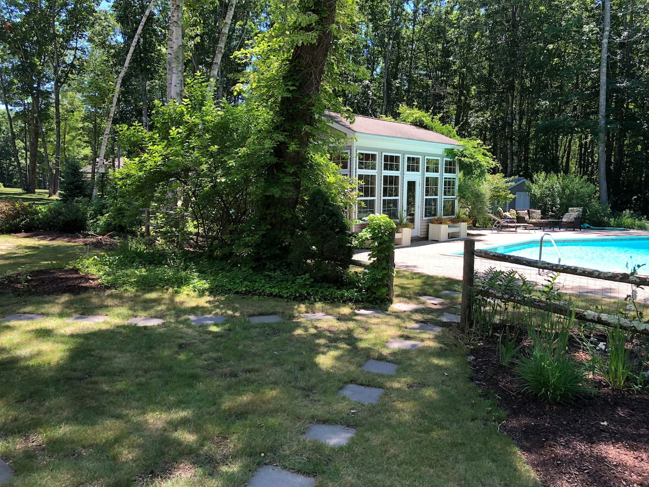 Sweet little Pool House and large heated pool!