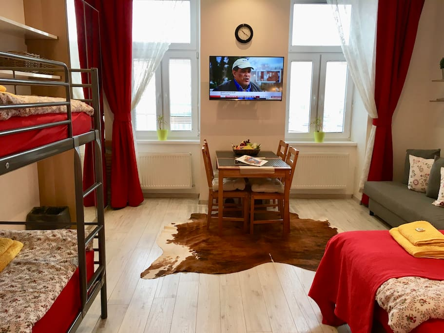 The apartment offers proper beds for 4 persons, with a bed sofa sleeping 2 more persons.