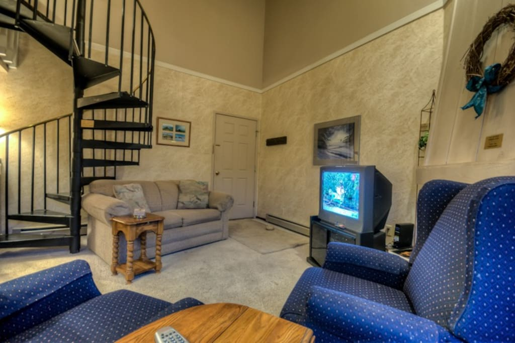 Nice Open Living Area with TV and Fireplace