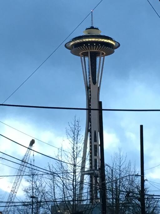 View of Space Needle standing on front porch