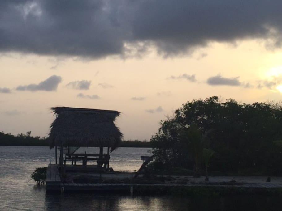 Sunset view of palapa