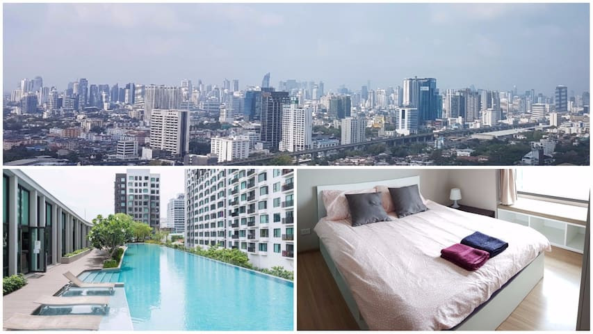 Skyline view 3min to Airportlink Pool WIFI - Bangkok - Appartement