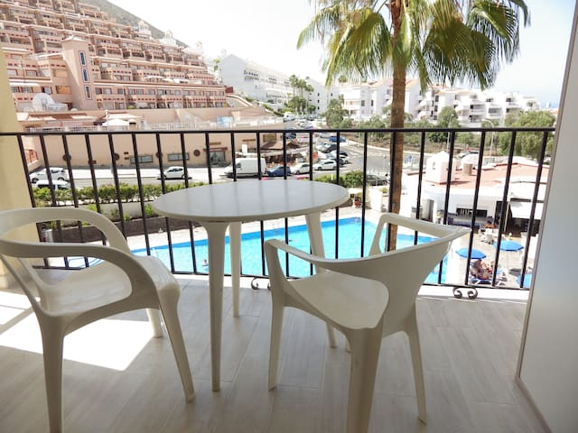 Pool view studio in Los Cristianos