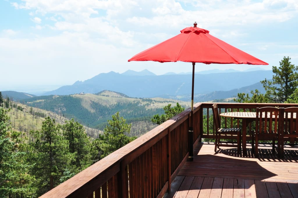 Deck and view over Sunshine towards the Flatirons and Denver.