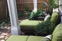 Your patio space is ideal for enjoying coffee in the morning or drinks in the evening. Parking is reserved for you in our driveway, which can be accessed from the garden.