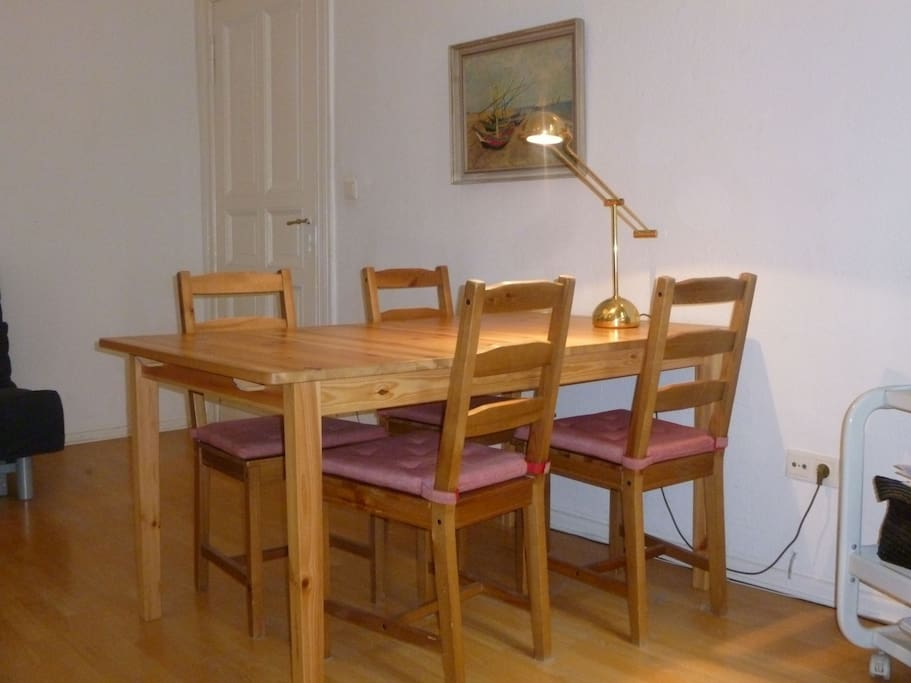 Dining for table in living room can be extended to seat six