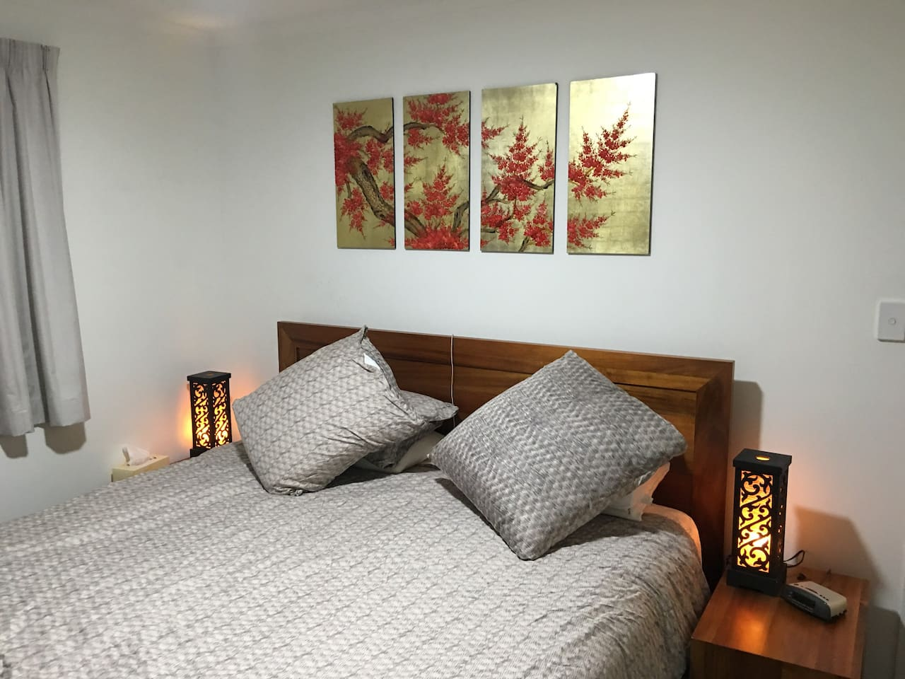 "The Chinese King room features KING size bed with high quality mattress, 43"" TV with Netflix and cosy decorations."