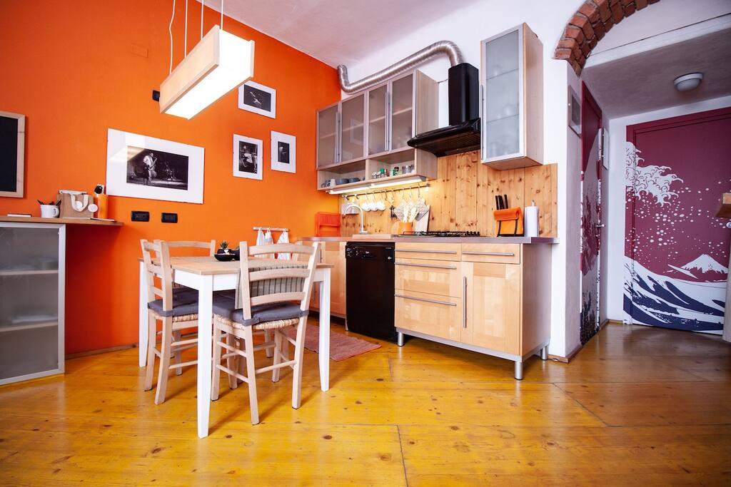 the living room and the kitchenette