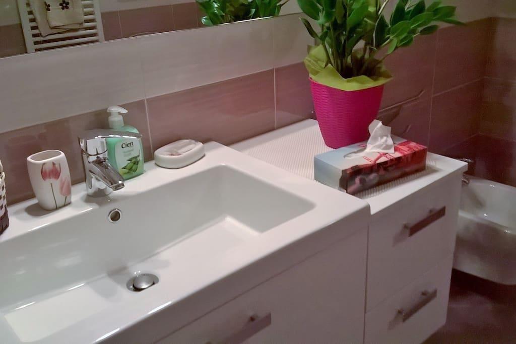 Bagno condiviso con doccia e accessori