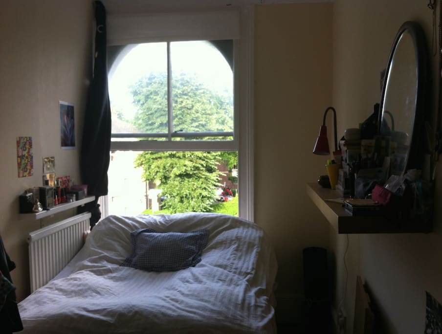 The room (contains two shelves, clothes rack, small table + foldable)