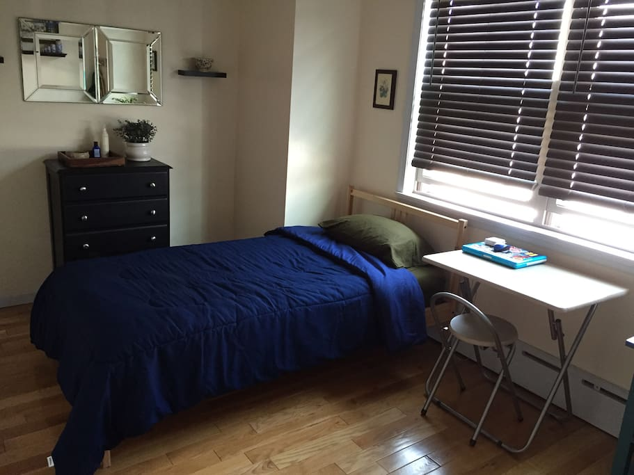 This is the rental room. An AC unit will be in the window during the summer. A fridge is also included.