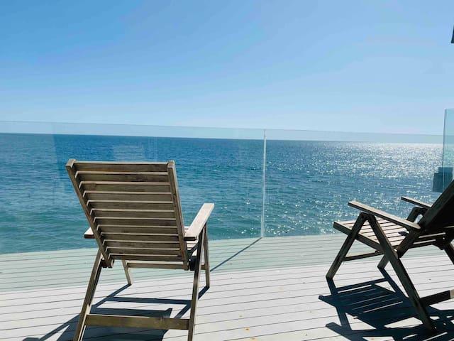 Duplex w/ Ocean Views & Access to Private Beach
