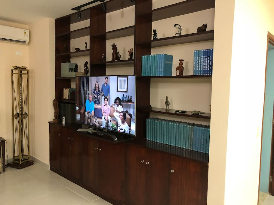 TV set - 55 inches and shelf