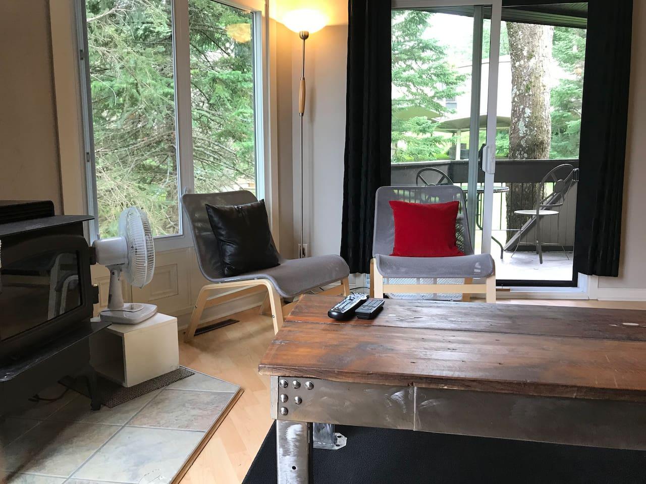 Living-room bien éclairé de jour avec accès à un balcon privé et poêle à bois fonctionnel.