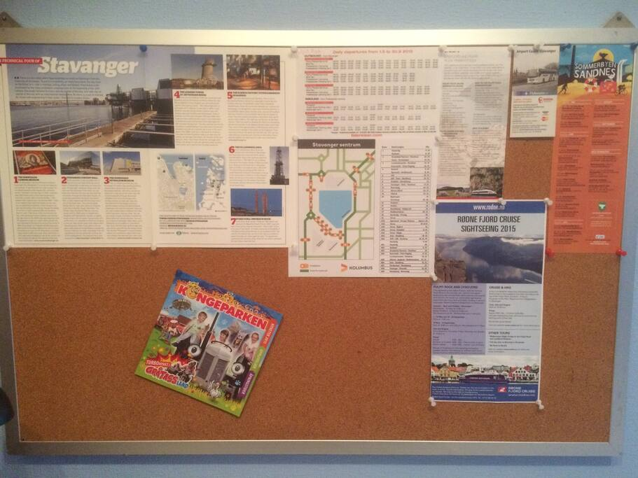 Board with all sorts of information about buss, where to see, etc