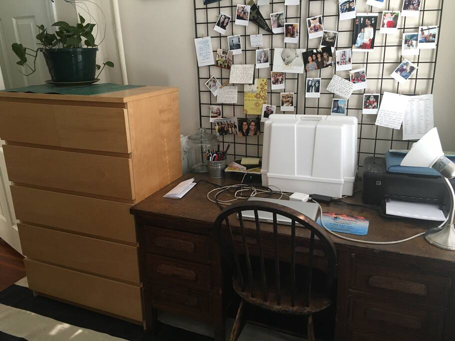 Desk space to work, check Facebook, or plan your next day's travel. You can use the entire dresser shown in the photo as well.
