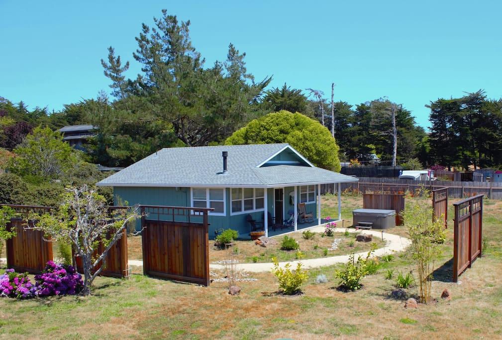The winding path that leads to your own secret garden and cottage, nestled away in Point Reyes Station.