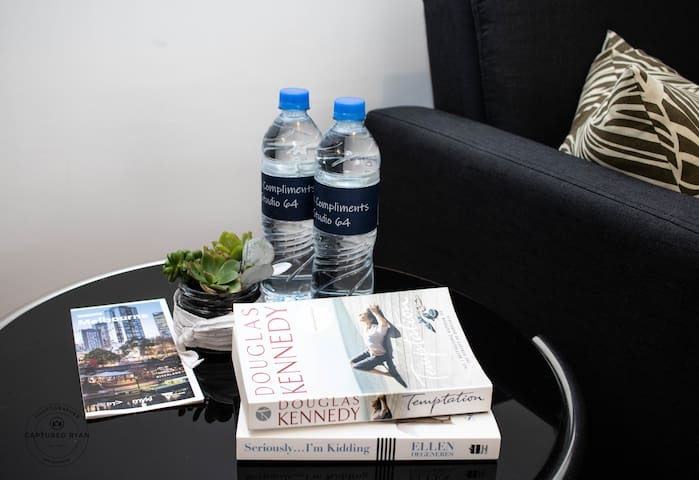Complimentary Water, local guides and books to read while relaxing