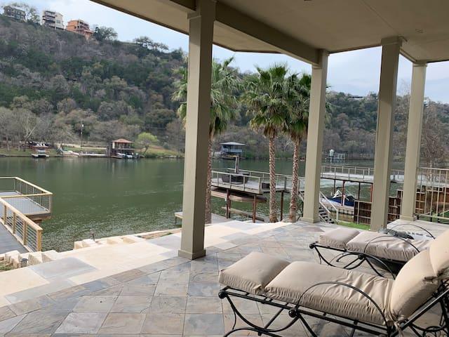Waterfront On Lake Austin Double level Boat Dock