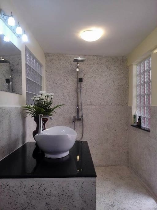 It's hard to find a bathroom with this much natural light!