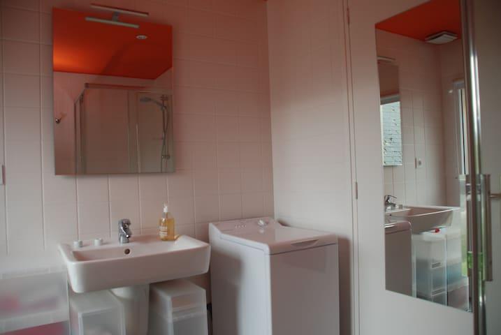 La salle de douche avec lave-linge et wc