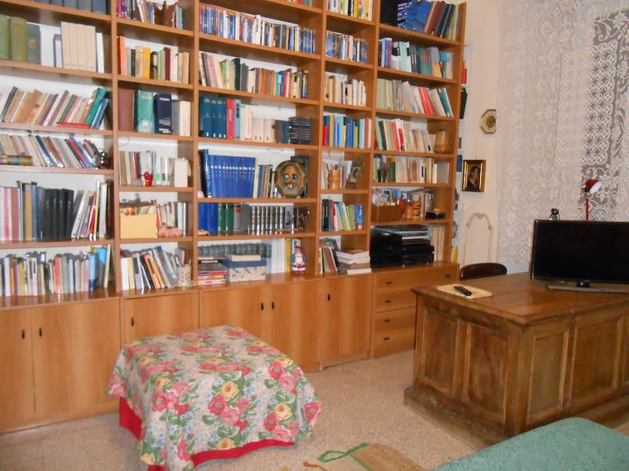 parete con libreria, scrivania con tv e computer, pouf letto singolo