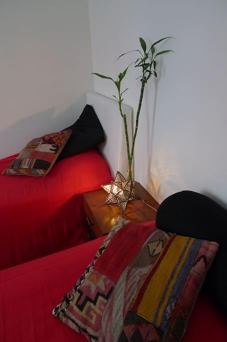 Une chambre avec deux lits jumeaux , possibilités de les rapprocher