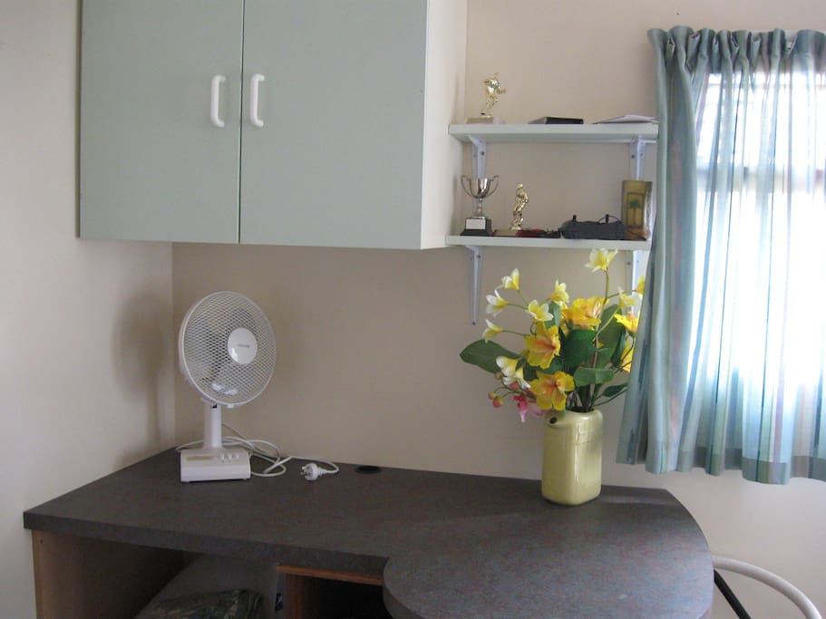 kitchen bench, (looks smaller on the photo) cupboards space above and below