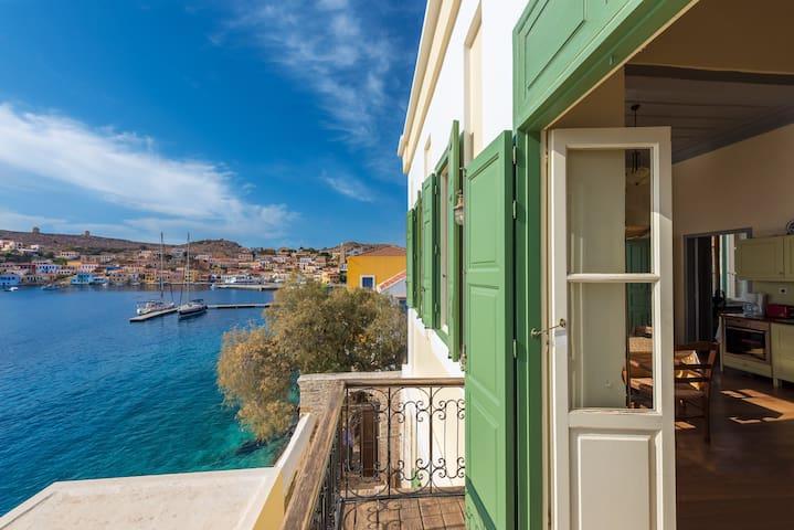 Villa Praxithea Upper floor. Halki waterfront.