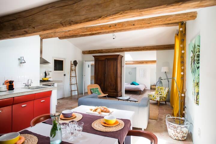 Ruim en licht appartement in een Chambre d'Hotes