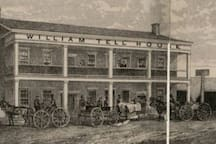 Rendering of the original William Tell House hotel and saloon from the late 1800s.