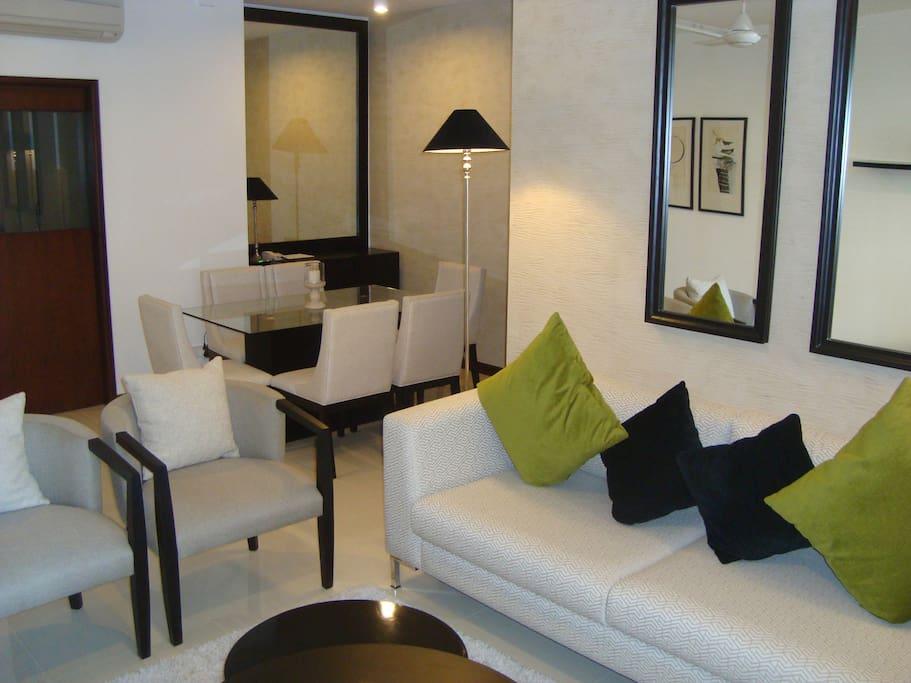 Designer furniture n furnishings in living room