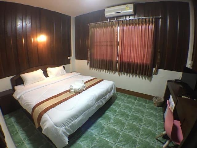 warm wood double room  #walking street chiang mai