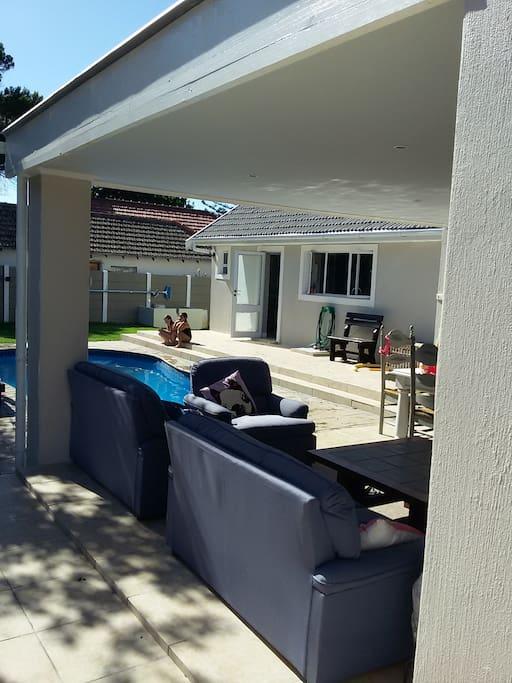 back patio looking onto pool
