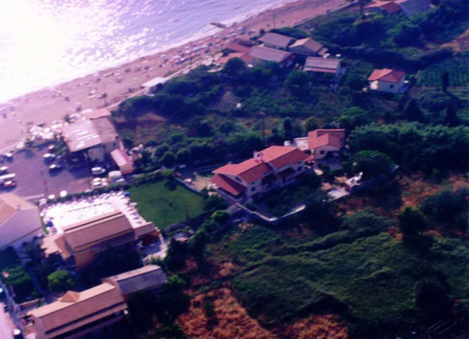 Aerial picture of the complex off the beach