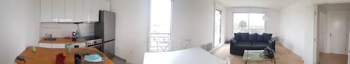 2pièces 50 m²vue sur jardin et terrasse 10 m²