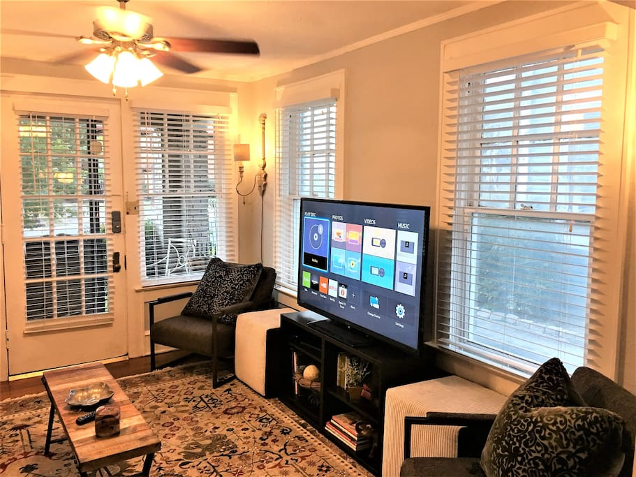 """Watch your favorite TV shows or favorite team on a 60"""" wide screen TV with Blue-Ray player equipped with Hulu, Netflix & Amazon Video."""