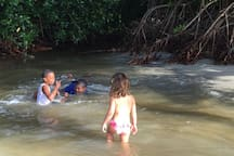 children swimming at the entrance of the sea to the mangrove