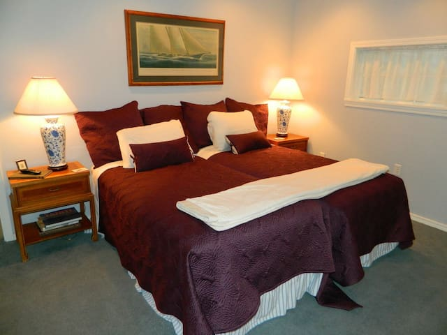 Comfortable twin beds with bedding provided
