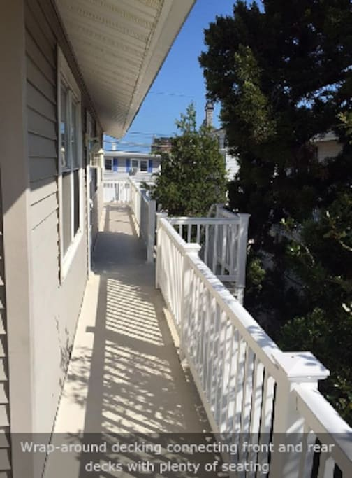 The walkway between the front and rear decks.