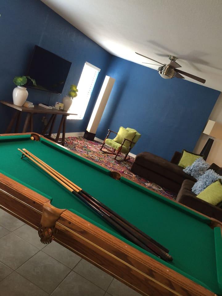 Large Beach house.  Pool Table + Basketball goal