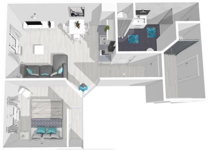 Voici le plan en 3D de votre appartement avec sa chambre , son salon / cuisine , sa grande salle d'eau avec douche et son hall d'entrée.